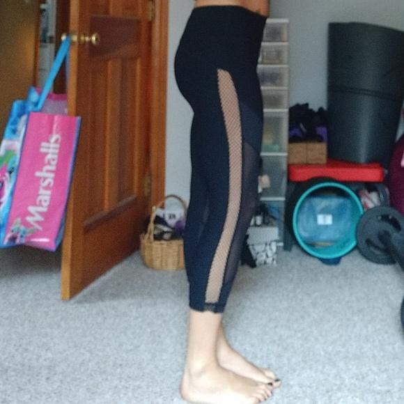 a50959904a 90 Degree By Reflex Pants | Black Yoga Capris With Fish Net Sides M ...